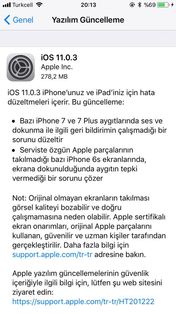 ios 11.0.3 sürümü